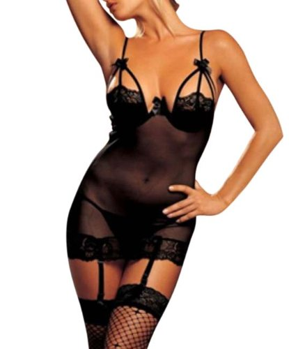 Juliet's Kiss Elegant Sheer Ann See Through Babydoll Nightdress Teddy Summers Bedroom Lingerie One Size fits UK 6-12 (Black)