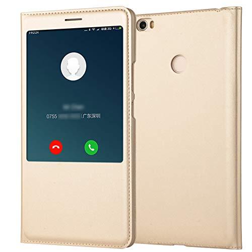 """Funda para Xiaomi Mi MAX Carcasa Cuero PU Tapa Flip + Interior TPU Silicona Ultra Slim Case Protección Inteligente Tel para Mi MAX 2 MAX 3 Caja (Dorado, Mi MAX 2 6.44"""")"""
