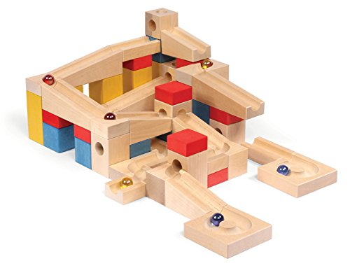 Natureich Kugelbahn 68 - Teilig zum Stapeln & Bauen inkl. 6 Murmel & 62 Holz Bausteine ab 4 Jahre - Montessori Material für Kinder frühe Motorik Entwicklung Bunt – Made in EU