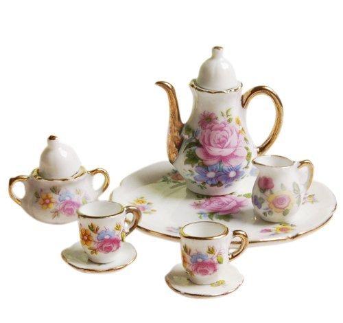 8pcs 1/6 Dollhouse Miniature Dining Ware Porcelain Dish/Cup/Plate Tea Set---Pink Rose