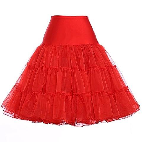 Vintage Damen 50er Jahre Retro Reifrock Unterrock für Rockabilly Rot M