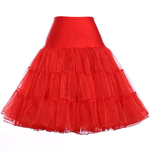 50er jahre rock Vintage petticoat unterrock reifrock für rockabilly Wedding bridal Knielang unterrock Rot S,C1,Rot
