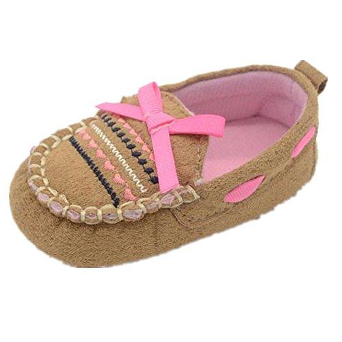 WOCACHI Baby-Mädchen-Winter-weiche Sohle Krippe Warm-Knopf Wohnungen Cotton Stiefel Kleinkind Prewalker Schuhe Krabbelschuhe (13, Kaffee) Kaffee
