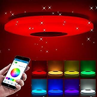 Houkiper Plafoniere, Lampada da soffitto a LED Bluetooth RGB dimmerabile Smart Music Lampada da Letto App Telecomando 185-265v