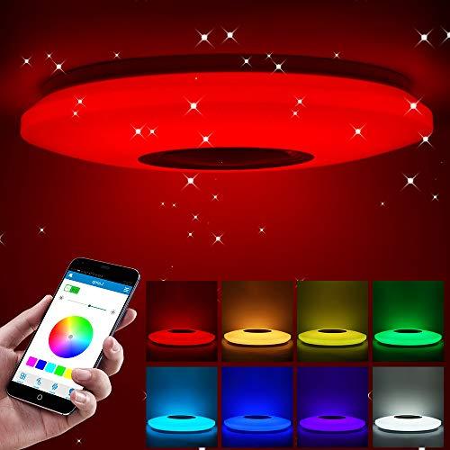 ShangSky Deckenlampen LED Dimmbar,RGB Bluetooth Lautsprecher Musik Schlafzimmer Lampen,mit APP Fernbedienung,für Kinderzimmer Kinder Geschenk (185-265v 36cm 36w)