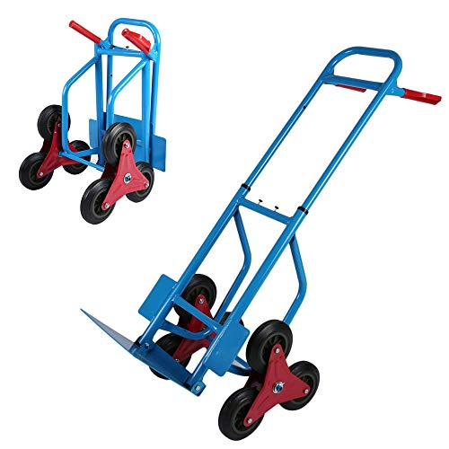 Kitechildhrrd Treppenkarre Sackkarre Treppensteiger klappbar Trolley mit 6 Rädern Stapelkarre Treppenrutsche Treppensackkarre Karre Max. 200KG, Blau