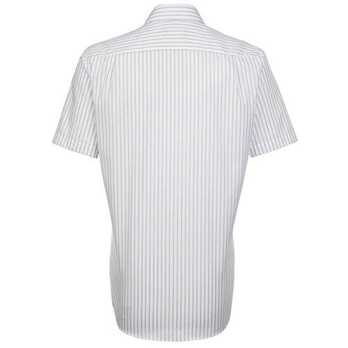 Seidensticker Herren Businesshemd Modern Kurzarm blau gestreift mit Kent-Kragen grau (0031)