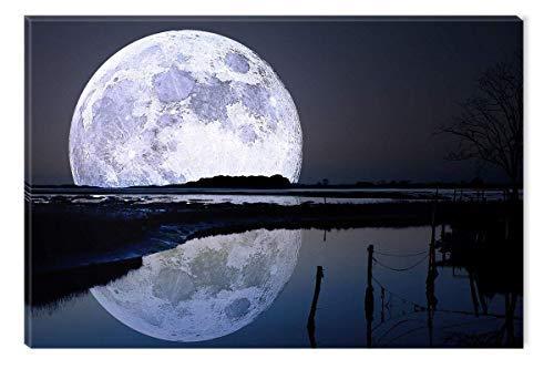 Startonight Cuadro sobre Lienzo La Luna llena de Agua, Impresion en Calidad Fotografica Enmarcado y Listo Para Colgar Diseño Moderno Decoración Formato Grande 60 x 90 CM
