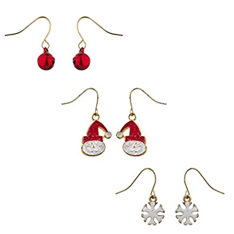 Lux Accessories Ensemble de 3paires de pendants d'oreilles sur le thème de Noël Doré