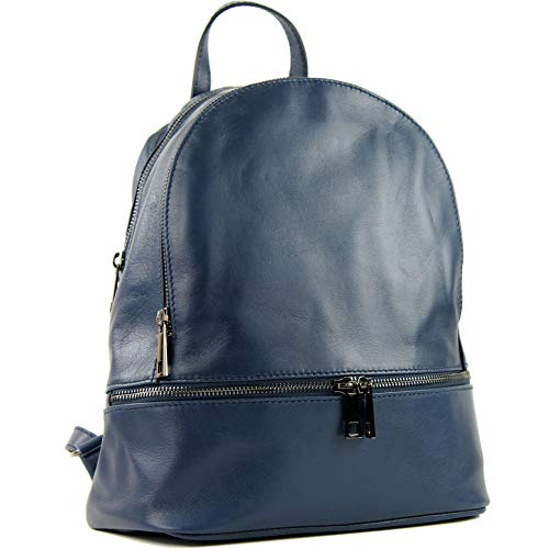 modamoda de - ital Damen Rucksacktasche aus Nappaleder T137, Präzise Farbe:Dunkelblau