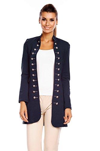 6062 Damen Jacke Blazer Admiral Uniform Mantel mit Military Knopfleiste Dunkelblau-S