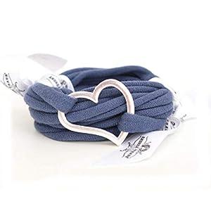 Armband Wickelarmband aus Stoff weich jeansblau oder in Wunschfarbe 60 Varianten mit Herz in silber individuelle…
