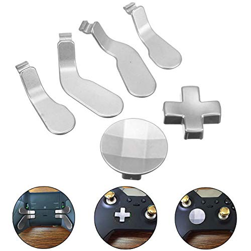 6 x silberfarbene Metallknöpfe Mod Ersatz Kit für Controller - Xbox Videospiele Zubehör Xbox One - 6 x Grips Cap für Elite Controller Good Grips Tool