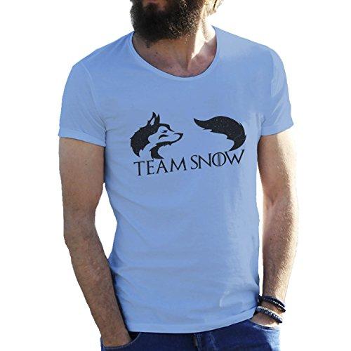 Team Snow Wolf Game Of Thrones T-shirt maglietta per uomo Azzurro