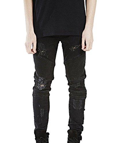 Jean Super Skinny avec Genoux Déchirés et Style Motard Noir