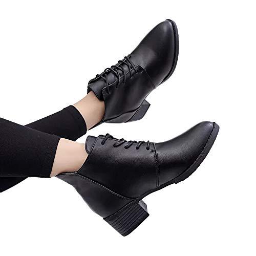 ABsoar Stiefel Damen Vintage Boots Freizeitschuhe Britischen Stil Stiefeletten Dicke Kurze Stiefel Frauen Leder Ankle Boots mit Square Heel