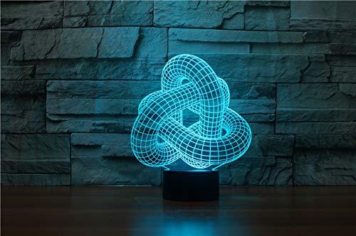 (Abstrakt) Abstrakte Ring Schnalle 3D Tischlampe LED 7 Farben Ändern Nachtlichter Neuheit Baby Schlaf Beleuchtung Wohnkultur USB Luminaria Geschenke -