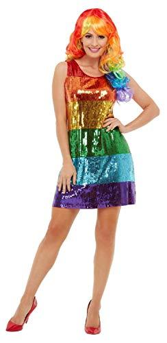 Fancy Me Damen Pailletten Regenbogen-Kleid Pride LGBT Karneval Festival Junggesellinnenabschied Kostüm Outfit UK (Junggesellinnenabschied Kostüme Uk)