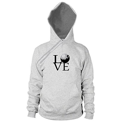 Preisvergleich Produktbild Todesstern Love - Herren Hooded Sweater, Größe: L, Farbe: grau meliert