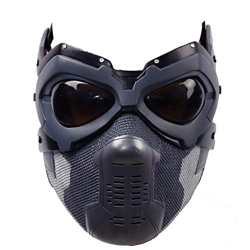 Bucky Maske Cosplay Kostüm Winter Soldat Harz Masken Hälfte Gesicht Helm Erwachsene Herren Halloween Fancy Dress Merchandise Prop für Verkleiden (Winter Soldat Kostüm Shirt)
