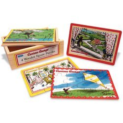 Curious George: 4-in-1 Jigsaw Puzzle (Coco der Affe) Kinder Puzzle 4 in 1 - aus USA - Spielzeug George Affe Der