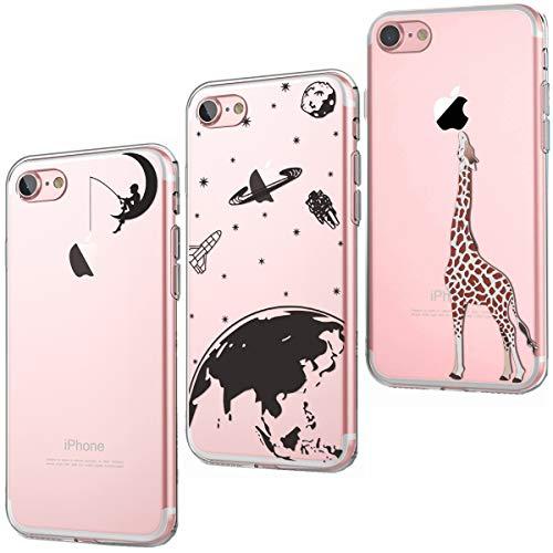 CreWin Kompatibel mit iPhone 7 Plus Hülle iPhone 8 Plus Handyhülle Transparent Silikon Bumper Durchsichtig Schutzhülle Lieblich Logo Kreativ Muster Handytasche- Mond Angeln Universum Giraffe