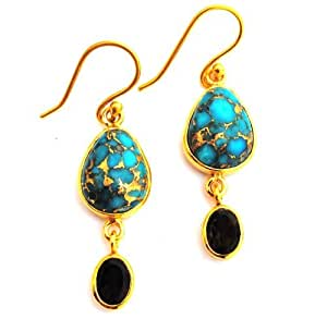 Designer Jewellery - Copper Turquoise, Smoky Quartz, Gold Plated Droplet Earrings