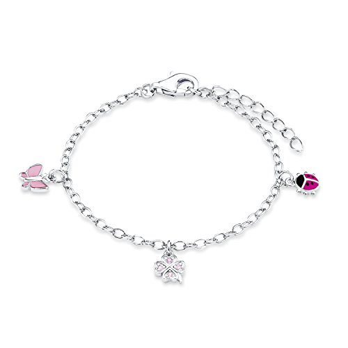 Prinzessin Lillifee Kinder-Armband längenverstellbar Marienkäfer Schmetterling Kleeblatt 925 Silber rhodiniert Emaille Zirkonia rosa