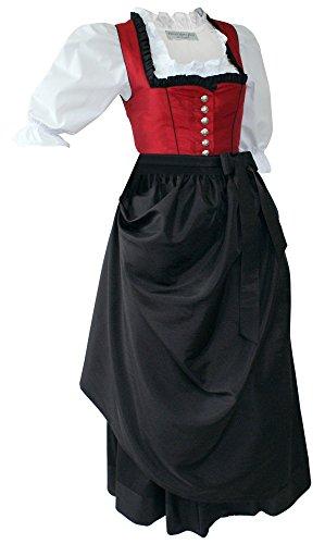 Fest-Dirndl Festtracht Trachten-Kleid Trachtenkleid Dirndlkleid Ballkleid rot schwarz festliches Balkonette-Dirndl für Ball Festtagstracht edler Taft, Größe:38 (Tasche Rot Brokat)