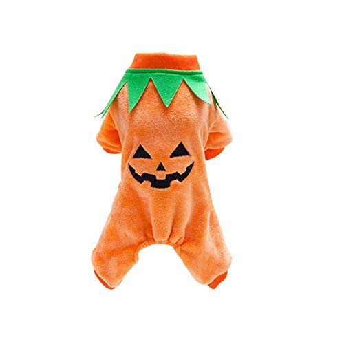 FGDSSE Hund Strampler Halloween Kürbis Cool Cute Dog Pet Cosplay Kostüm Coral Velvet Pumpkin Pattern Cute Puppy Kostüm -