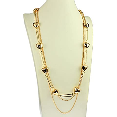 Dangling chunky heart charm gold plated long multiple chain necklace costume jewellery
