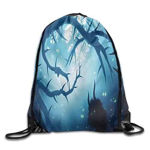 Naiyin Unisex Drawstring Backpack, Animal with Burning Eyes In Dark Forest at Night Horror Halloween Drawstring Gym Sack Sport Bag