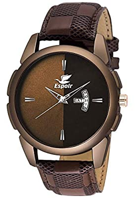 Espoir Analogue Brown Dial Day and Date Men's Boy's Watch - Adam0507