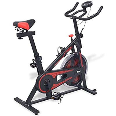 Exercise Spinning Bike with Pulse Sensors Black and Red Sporting Goods Exercise & Fitness Cardio Cardio Machines Exercise Bikes from ghuanton