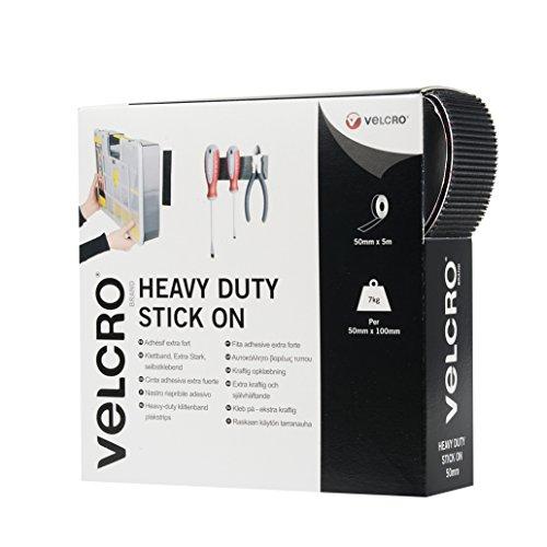 VELCRO - Heavy Duty Stick on Tape 50mm x 5 Meter schwarz - Klettband zum Aufkleben Haft und Flauschteil EXTRA STARK(BxL) 50mm x 5 Meter schwarz (Heavy-duty-haus)