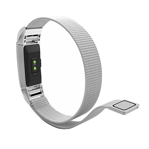 Fitbit Charge2 Cinturino, Venter® Stainless Steel Mesh Milanese Boucle magnétique poignet CINTURINO Bracelet Strap pour Fitbit Charge2 GPS Fitness tracker Smart Watch Cinturino (Silver)