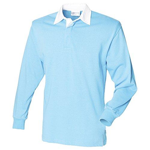 Front row - polo manica lunga 100% cotone - uomo (xl) (azzurro cielo)