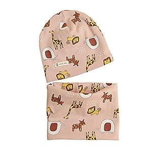 Tukistore - Juego de gorros de algodón para bebé y niña, gorro y bufanda bufanda con diseño de dibujos animados Animal… 3