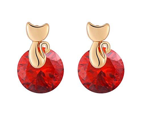 Scrox Pendientes de Kawaii para mujer Pendientes de cristal con forma de cristal brillante Pendientes de joyería Regalos de amor rojo (Rojo )