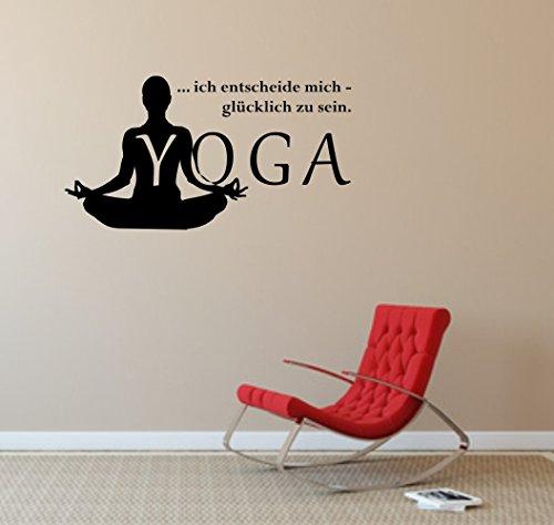"""Wandtattoo Wandaufkleber: YOGA mit Spruch \""""Ich entscheide mich, glücklich zu sein.\"""" Meditation Enstpannung Sport Hatha - verschiedene Farben und Größen (1120 mm x 600 mm, Schwarz)"""