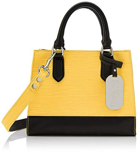 Trussardi Jeans Damen T-Easy City Tote Bag, Mehrfarbig (Yellow/Black), 25x20x10 Centimeters - Denim Tote Bag Handtasche