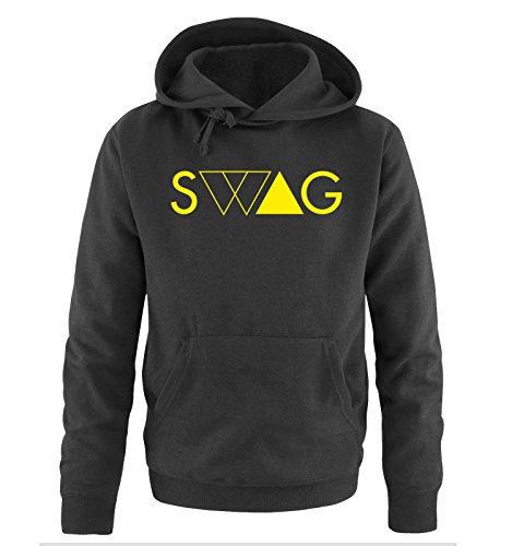Comedy Shirts - SWAG DELUXE - Uomo Hoodie cappuccio sweater - taglia S-XXL different colors nero / neon giallo