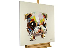 KunstLoft® Acryl Gemälde 'Bunter Mops' 80x80cm | original handgemalte Leinwand Bilder XXL | Bunter Hunde-Welpe für Kinder & Kinderzimmer Tier | Wandbild Acrylbild moderne Kunst einteilig mit Rahmen
