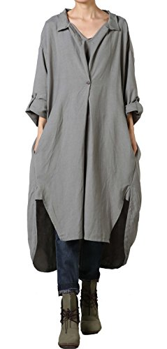 Vogstyle Damen Plus Größe Baumwollleinen Einschultriges Shirt Kleider XL Dunkelgrau
