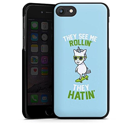 Apple iPhone X Silikon Hülle Case Schutzhülle Einhorn Unicorn Statement Hard Case schwarz
