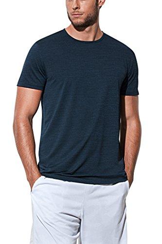 meliertes Sport-Shirt für Herren aus schnelltrocknendem Funktionsmaterial, Größe M, Blau (Marine-blau-team-fußball-t-shirt)