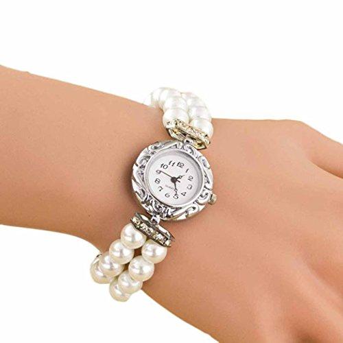Orologio da donna, Rawdah studenti Beautiful Pearl quarzo bracciale - Day Date Mens Orologio Da Polso