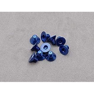 Integy RC Model Hop-ups OBM-AC-031-ASCDB 3 x 4mm Machine Type 7075-T6 Countersunk Hex Screw (Dark Blue 10 Pcs)