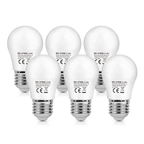 SHINE HAI 6er Pack E27 LED Lampe, 4.5W LED Leuchtmittel ersetzt 40W Glühlampen, E27 LED Warmweiss 2700K, 350LM, LED Birne als Kolbenlampe,G45 LED Mini Globe, Nicht Dimmbar