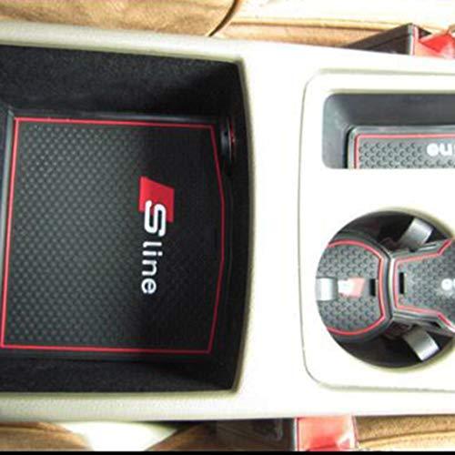 Mazur-Car-Door-Trough-Pad-Cuscino-per-tazza-dacqua-modificato-Car-Interior-Special-Bracciolo-Box-Anti-Skid-Pad-Set-9pcs-Fit-Audi-New-A4L-nero-e-rosso
